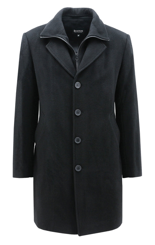 Boston Profile Black Wool Overcoat