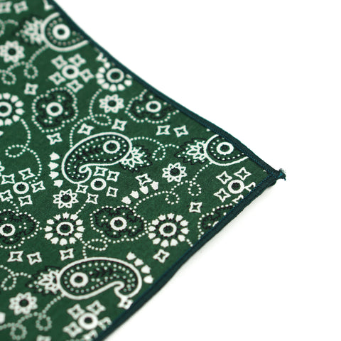 Green Floral Paisley Pocket Square