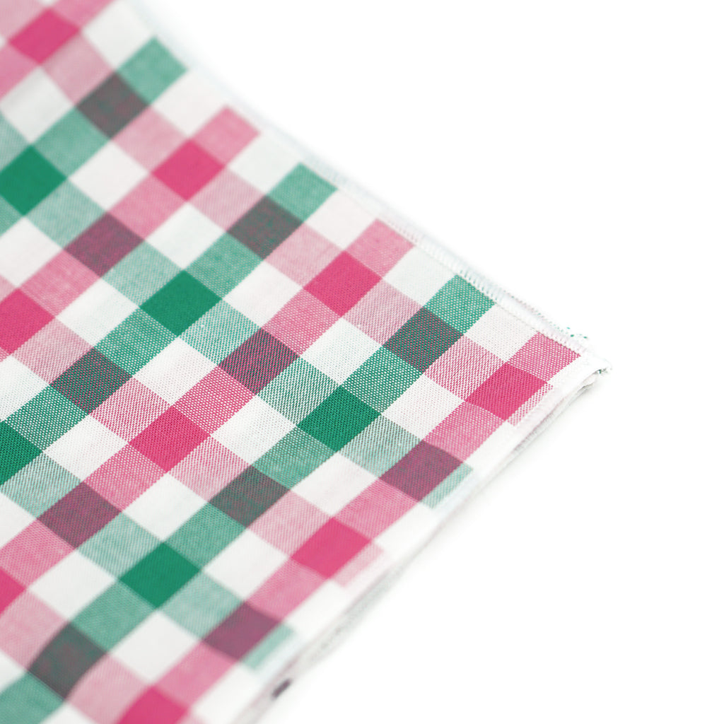 Green/Pink Checkered Pocket Square