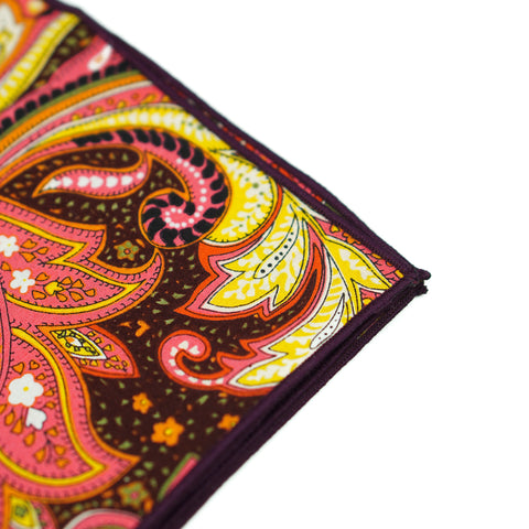 Brown/Orange Paisley Floral Pocket Square