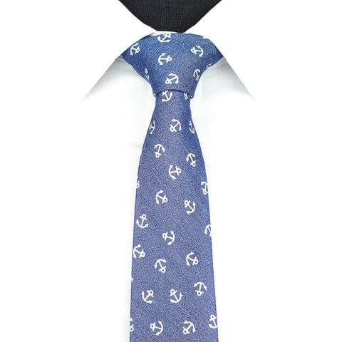Blue Anchor Tie - Denim