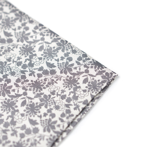Floral Pocket Square - Silver