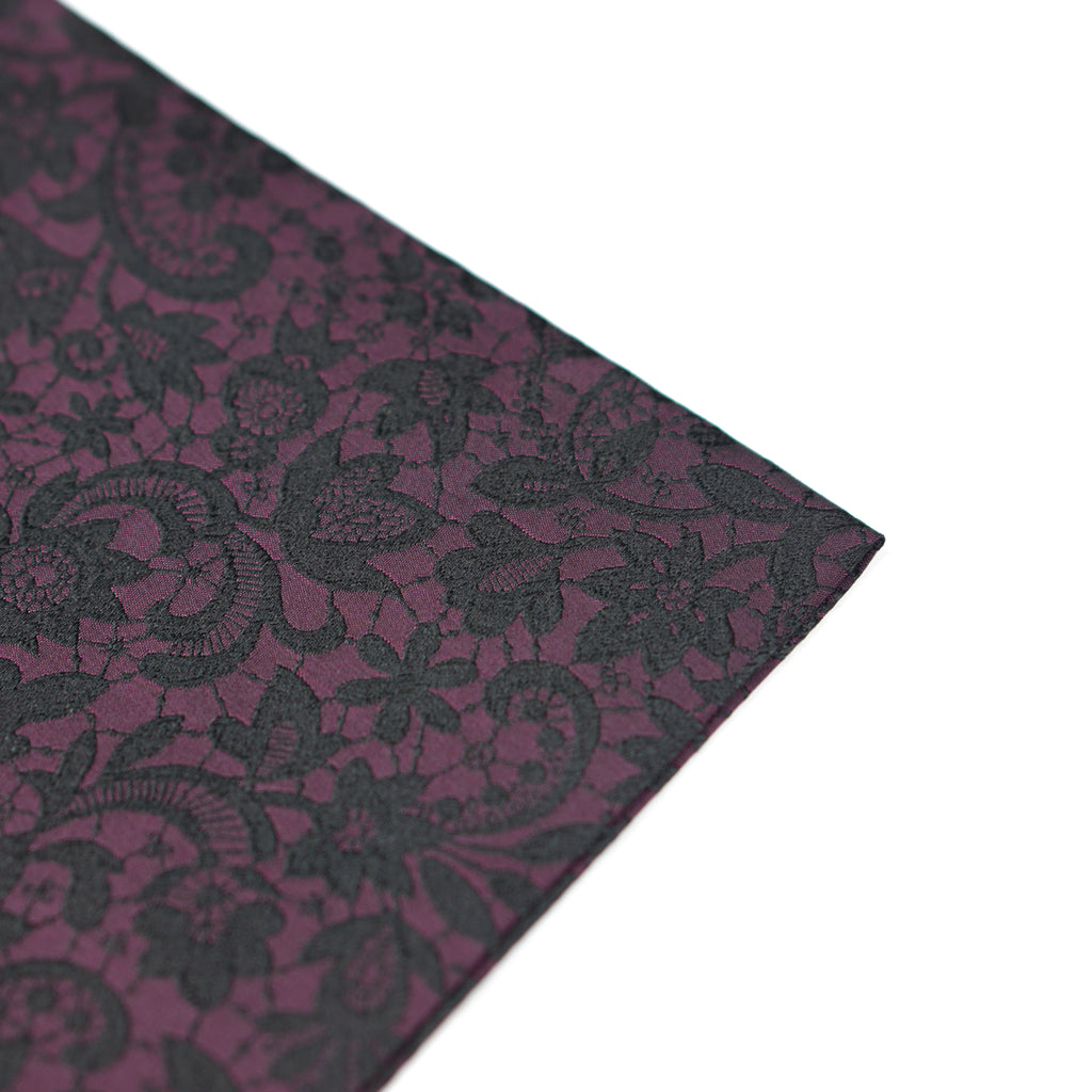 Midnight Floral Pocket Square - Scarlet