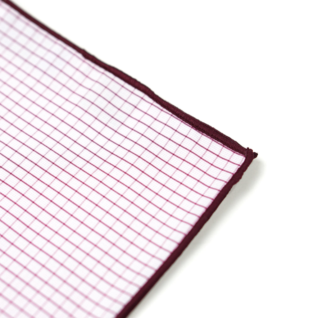 Plaid Pocket Square - Cherry