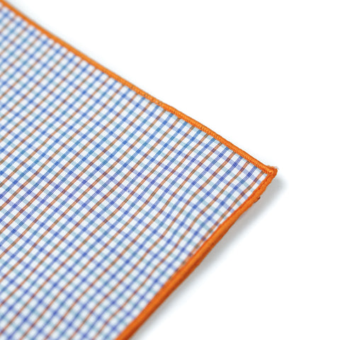 Plaid Pocket Square - Orange/Blue