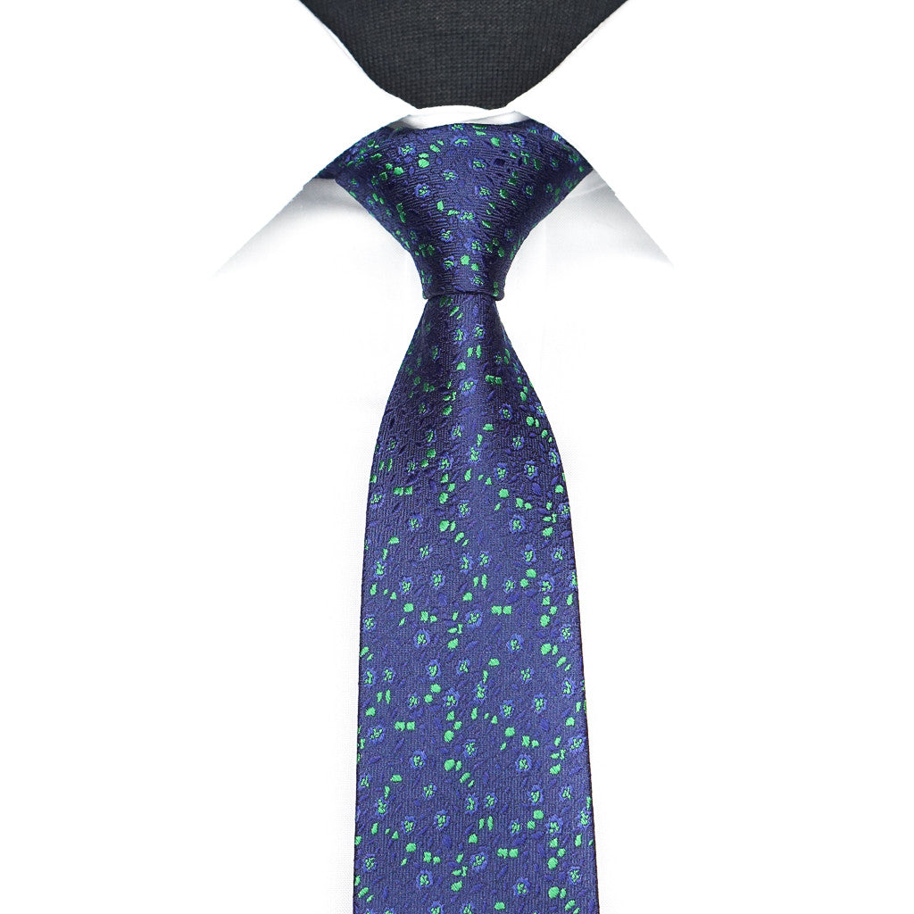 Blue Seagrass Floral Tie