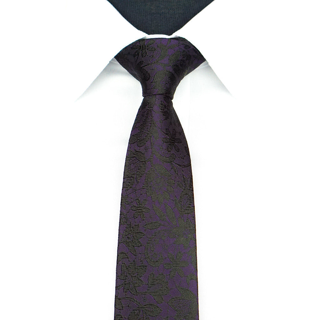 Purple Midnight Floral Tie