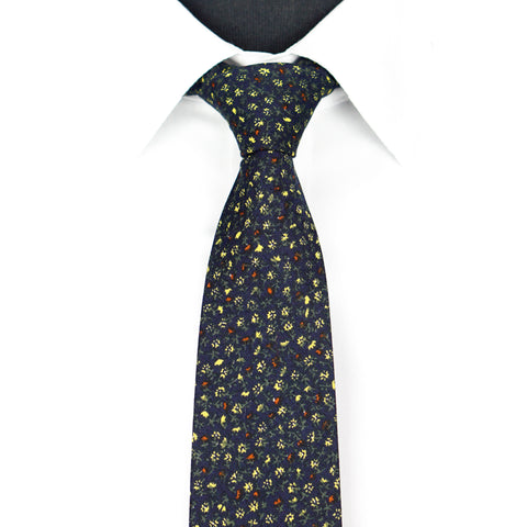 Black/Yellow Floral Tie