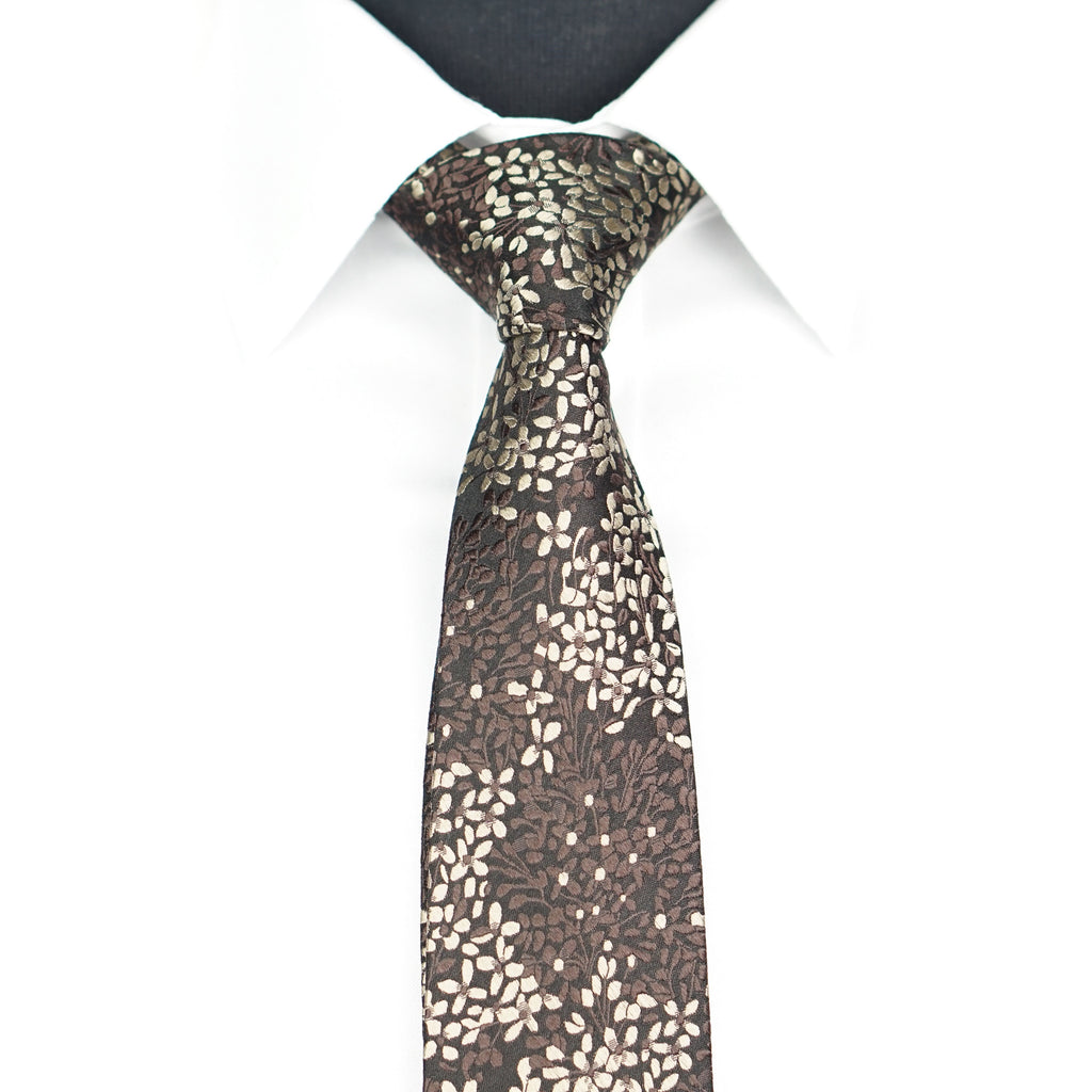 Brown/Gold Floral Tie