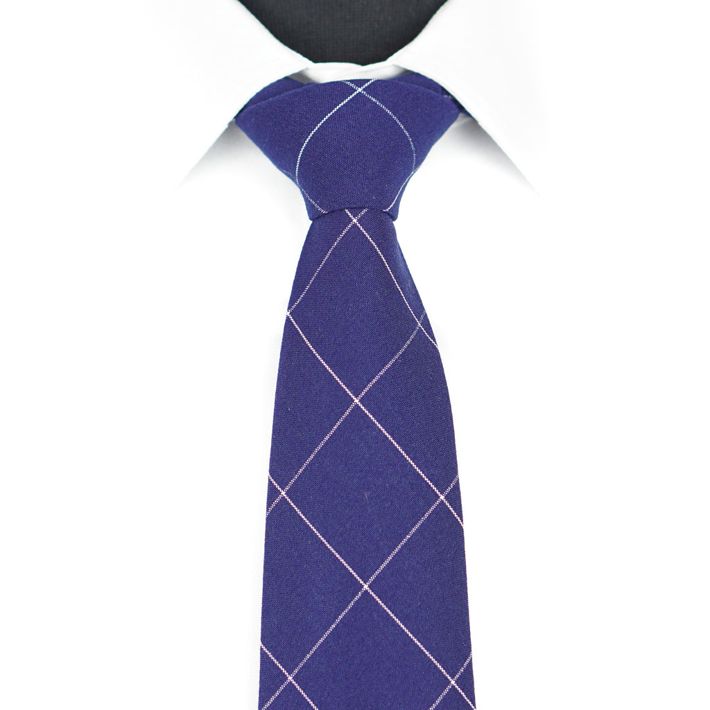 Navy Windowpane Tie