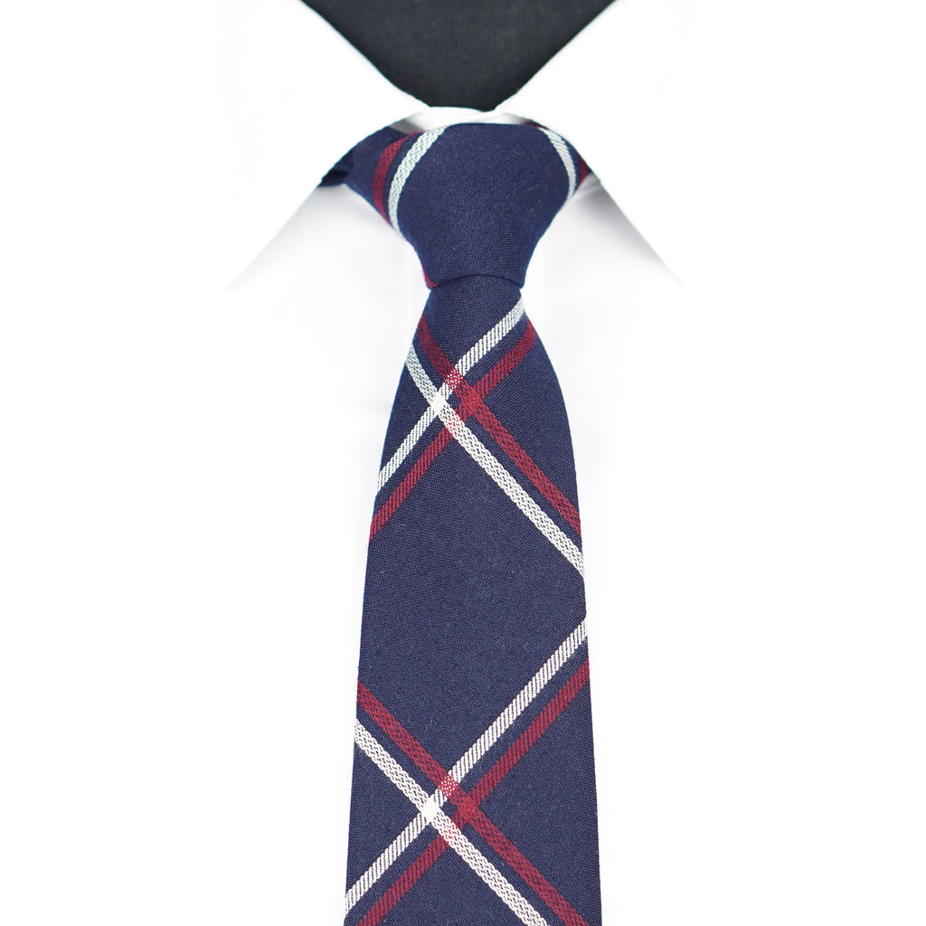 Navy/Red Plaid Tie