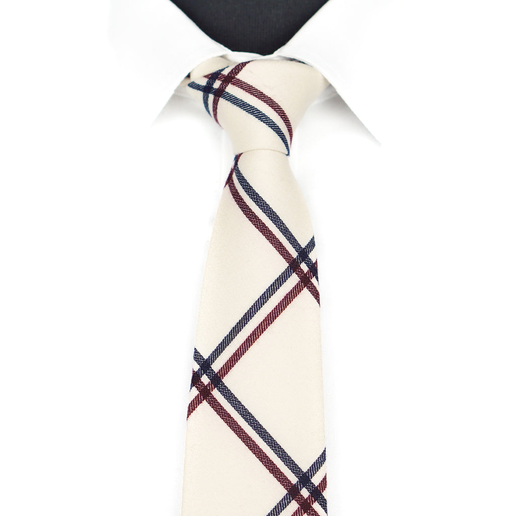 Cream Plaid Tie