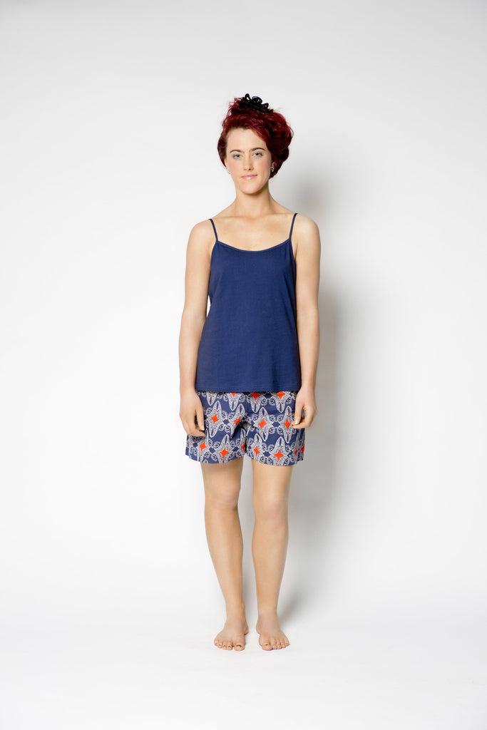 Navy Organic Cotton Strappy Top