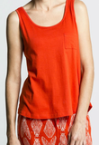 Red Loose Organic Cotton Singlet Top