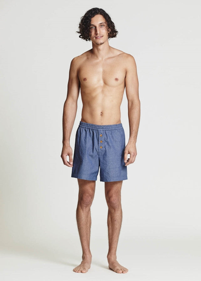 Chambray Boxer Shorts - Lazy Days Loungewear - 1
