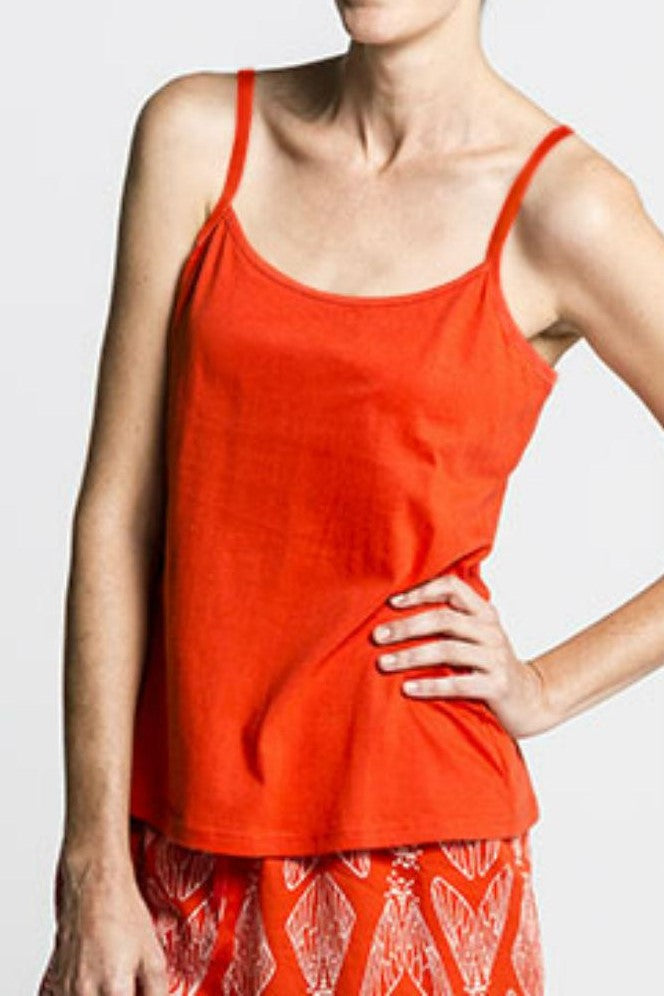 Red Organic Cotton Strappy Singlet Top