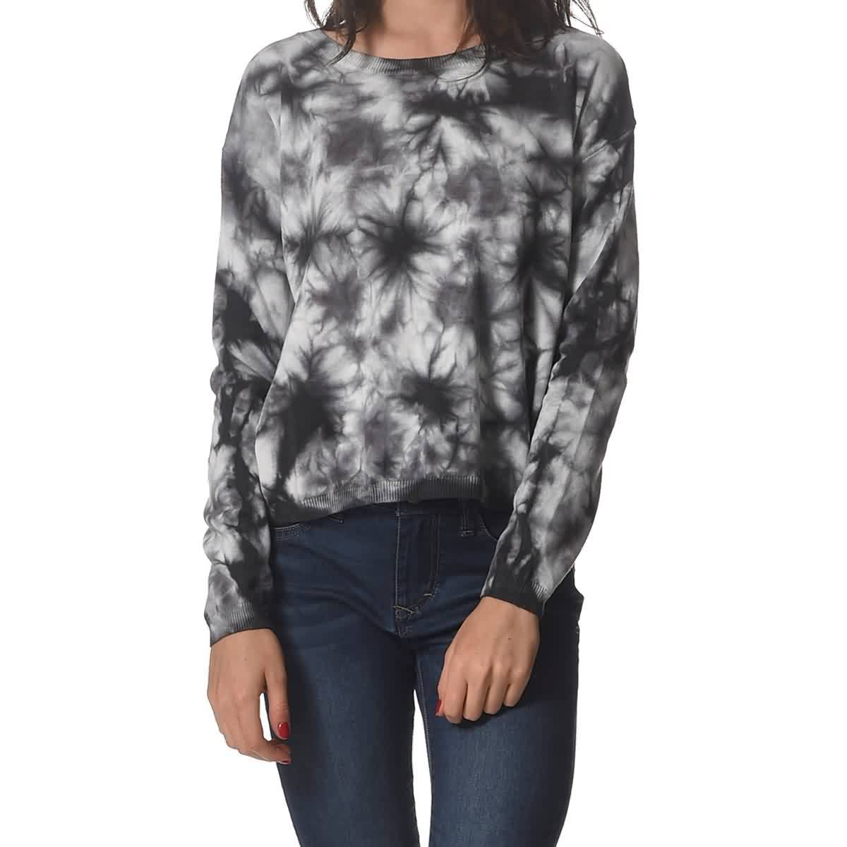 Rusty Panorama Crew Knit Women's Long-Sleeve Shirts - Charcoal