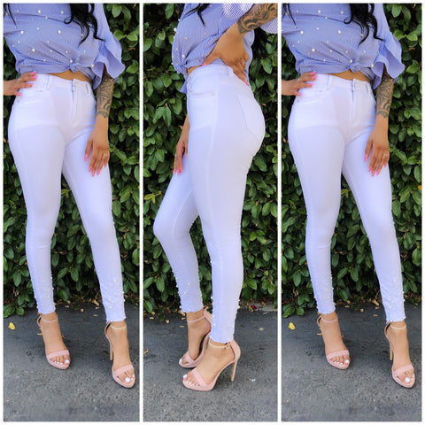 Edgy in Pearls Jeans-White