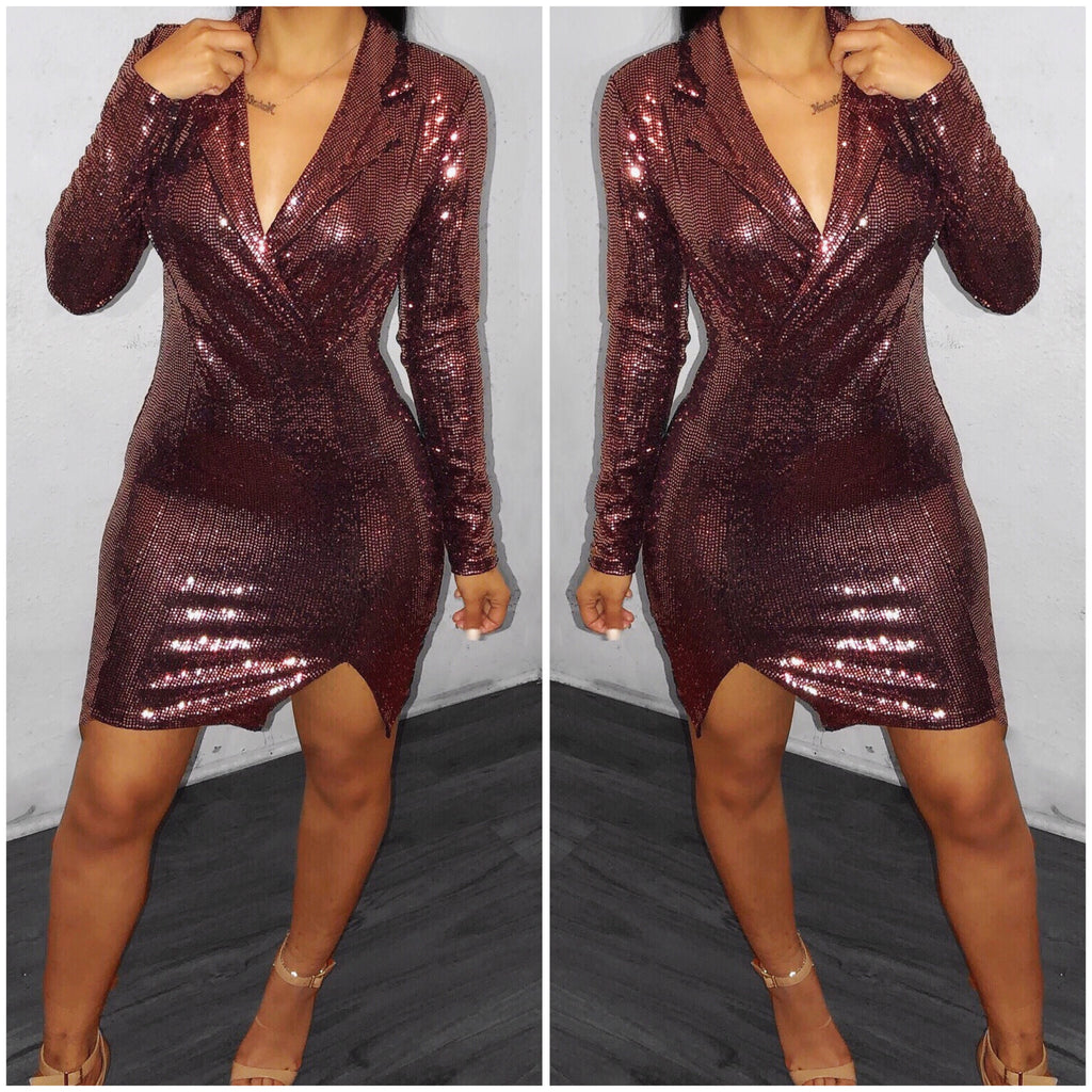 Glitz and Glam Dress-Rose Gold