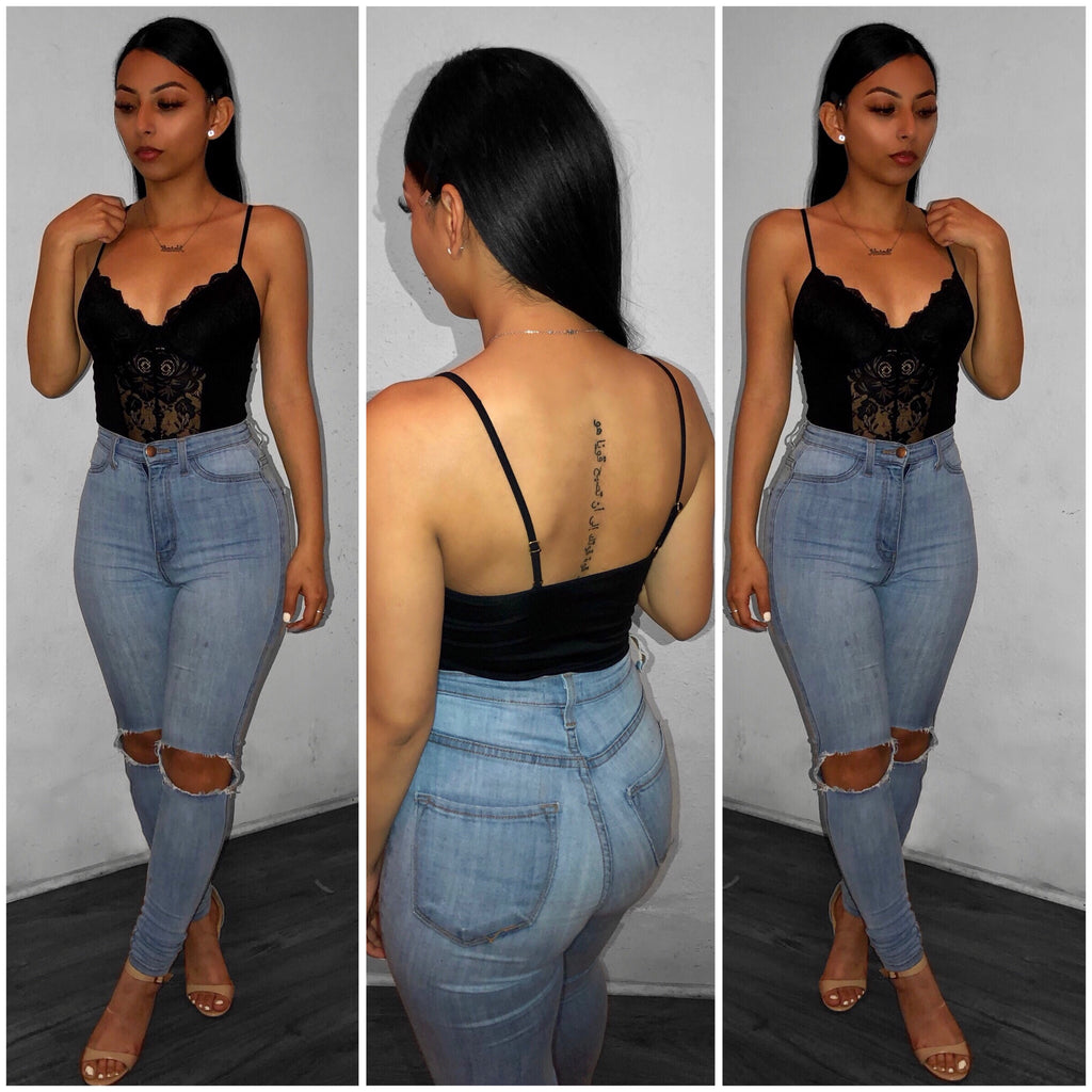 Laced in Love Crop Top-Black