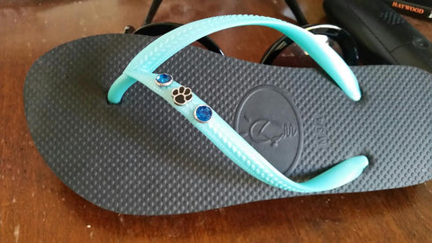 dog paw charm on dog lover flipflops for women who love dogs