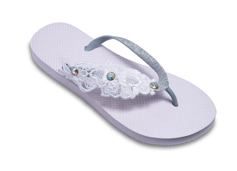 Bridal Flip Flops with Floral Lace