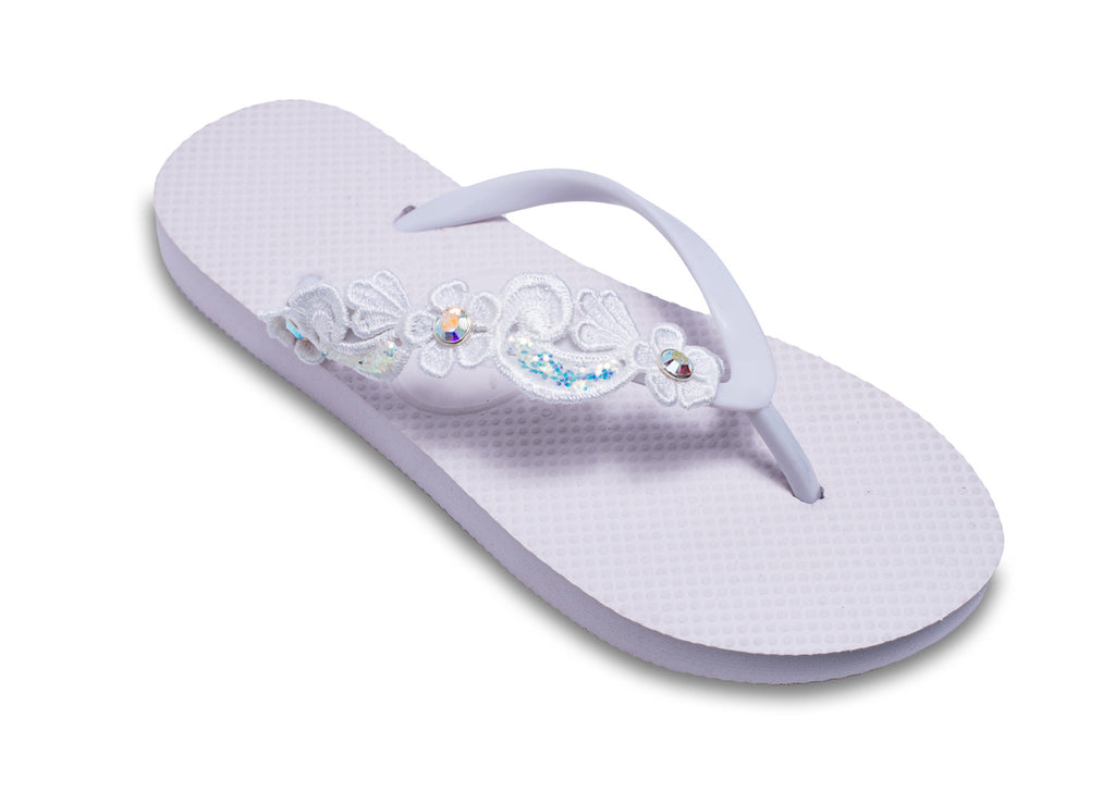Bridal Flip Flops with Sparkling Lace