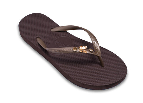 Butterfly Flip Flops in Golden Brown for Ladies