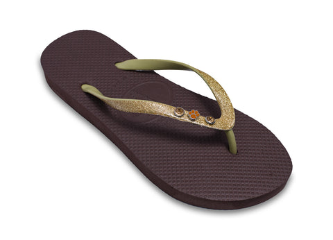 Dog Lovers Flip Flops for Ladies in Brown and Gold