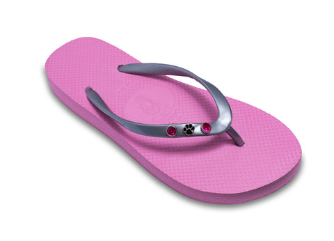Dog Paw Flip Flops for Ladies in Pink