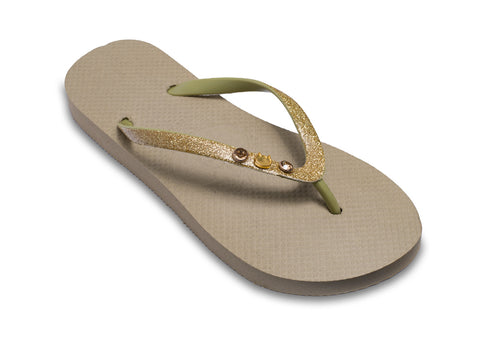Cat Lovers Flip Flops for Ladies in Tan and Gold