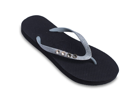 Black Tie Night Out Flip Flops with Genuine Swarovski Crystals