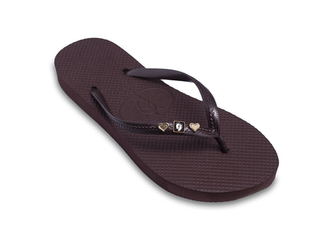 Hang Ten Flip Flops for Ladies in Dark Brown Shimmer