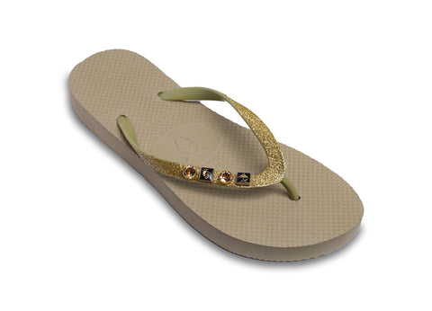 Golden Travel Flip Flops for Ladies with Genuine Swarovski Crystals