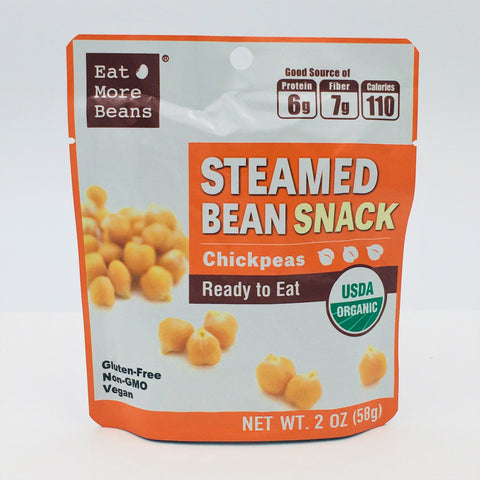Eat More Beans Organic Steamed Bean Snack Chickpeas Ready To Eat 2oz/ 58g