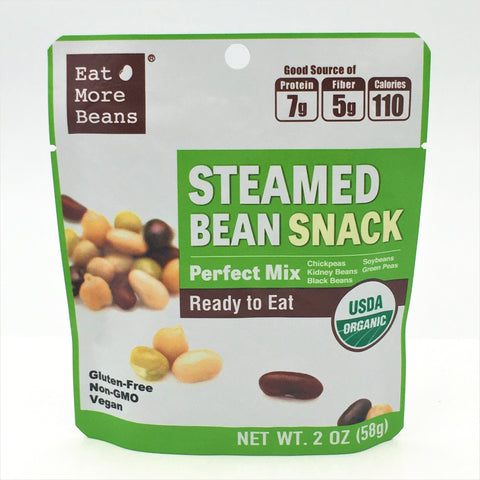 Eat More Beans Organic Steamed Bean Snack Perfect Mix Ready To Eat 2oz/ 58g