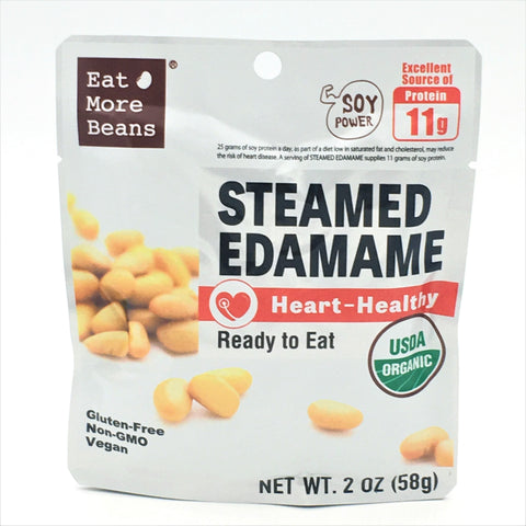 Eat More Beans Organic Steamed Edamame Heart- Healthy Ready To Eat 2oz/ 58g
