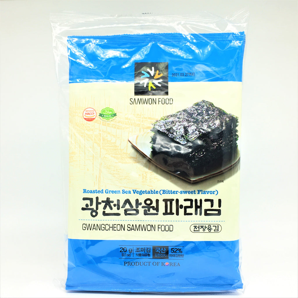 Korea Samwon Food Roasted Green Sea Vegetable (Bitter-Sweet Flavor ) 20gX 3