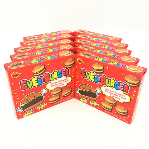 Bourbon Every Burger-Shaped Chocolate Filled Cookies From Japan 2.32 oz (Pack of 10)