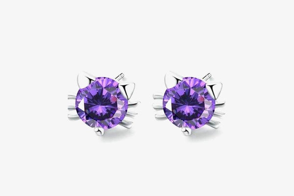Cat Head Shape Diamond Earrings - Phonebibi