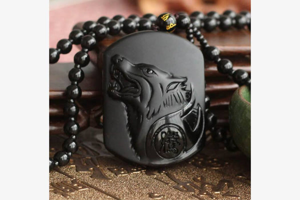 Dark Wolf Obsidian Necklace - Phonebibi