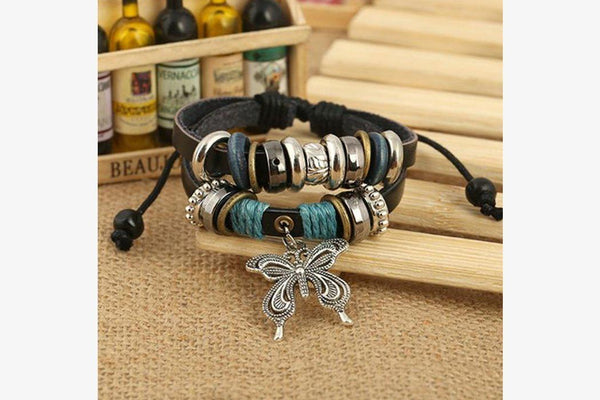 Fashionable Butterfly Leather Charm Bracelet - Phonebibi