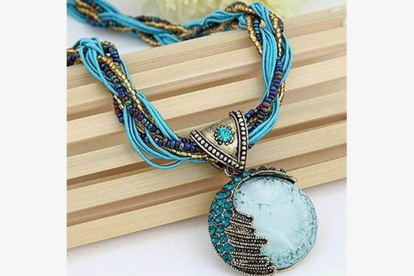 Sky Blue Precious Gem Necklace