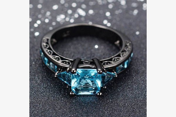 Blue Aquamarine Gemstone Ring - Phonebibi
