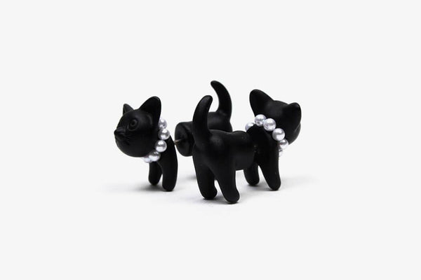 Sturdy Black Cat Ear Stud