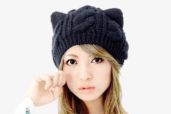 Cat Ear Knit Beanie Hat - Phonebibi