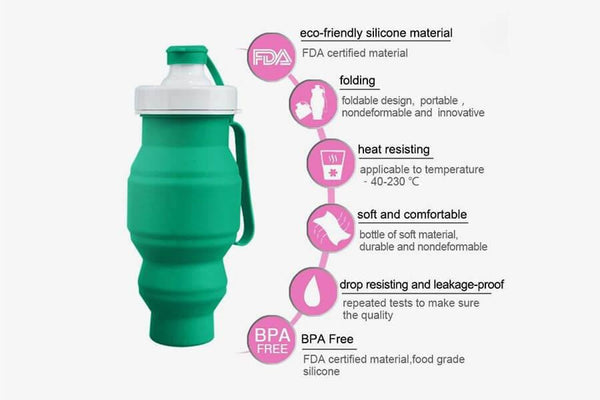 Collapsible 520mL Water Bottle - Phonebibi