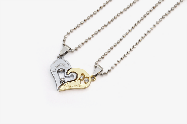 Couple Twin Heart Necklaces - Phonebibi