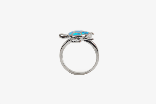 Blue Glow Opal Turtle Ring - Phonebibi