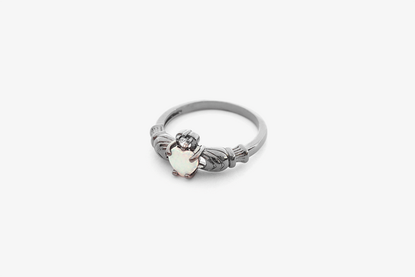 Sea Blue Opal Heart Ring